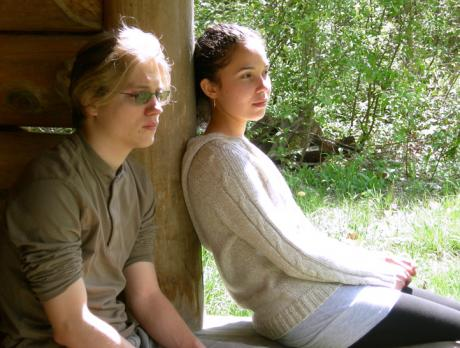 Two students sitting